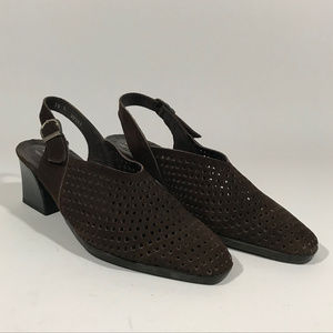 Arche Brown Nubuck Perforated Slingback Heels